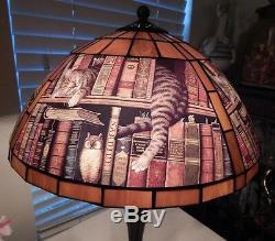 Rare Wysocki Bronze Stained Glass Cat Lamp FREDERICK THE LITERATE Tiffany Style