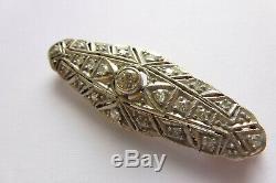 Rarität Wunderschöne Art Deco Brosche Gold/Silberfassung mit Diamanten 0,40 Cat