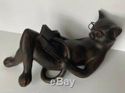 Reading Cat Cast Resin Sculpture Figurine Statue Young's Inc 13 Book Glasses