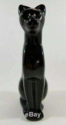Retired Baccarat Black Egyptian Crystal Cat Figurine Collectible 6 3/8 #768