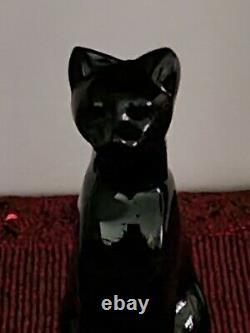 Retired Baccarat Black Egyptian Crystal Cat Figurine France Signed 6 3/8