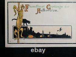 SCARCE-Art Deco Vintage Halloween Postcard- Cat & Corn Stalk W Witch-Fairman