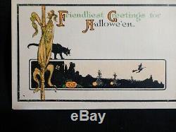 SCARCE-Halloween Postcard-Art Deco Blk Cat & Corn Stalk Over Field-By Fairman