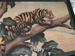 SHIRRELL GRAVES WATERCOLOR TIGER CAT ORIGINAL ART DECO ARTIST SIGNED 22 x 28