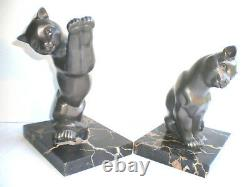 SUBLIME French bookends Art Deco 2 CATS on black marble terrace