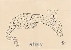 Sanyu style Chinese French ink drawing paper leopard cat art deco Chang Yu
