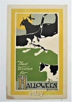 Scarce Gibson GREEN-EYED CATS Art Deco HALLOWEEN Unused Postcard