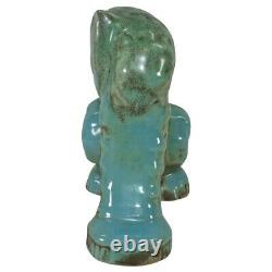 Shearwater Pottery Art Deco Blue Green Heart Face Cat Figurine (Anderson)