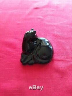 Signed Baccarat France Black Crystal Art Deco Glass Cat Figurine