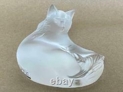 Signed LALIQUE Paris Happy Cat Kitten Art Deco French Crystal Figurine Statue