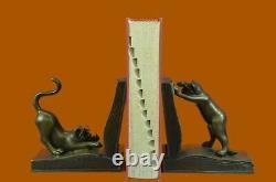 Signed Original Two Playful Cat Bookends Book Ends Bronze Sculpture Deco Artwork