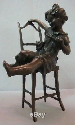 Statue Sculpture Cat Daughter Art Deco Style Art Nouveau Style Solid bronze Sign
