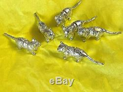Sterling Silver Kittens / Cats Place Card Holder English Silver Hallmarked