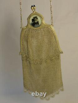 Sterling Silver Mesh Chain Purse Evening Hand Bag with cat picture Ornate ZC2-29