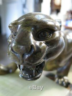 Superbe statue panthere Art Déco Guy Dèbe support marbre