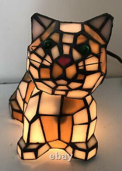 TIFFANY STYLE Stained Glass Bobble Head CAT LAMP Night Light with GREEN EYES 7 T