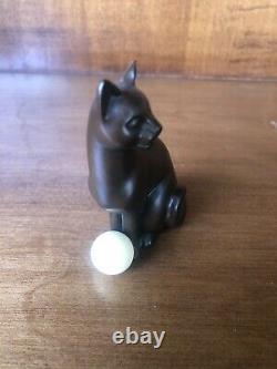 The Franklin Mint Curio Cabinet Cats Art Deco Bronze Cat & Ball No Book