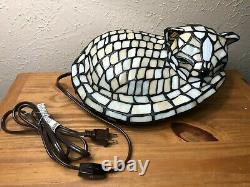 Tiffany Style Acrylic Cat Lamp Accent Light with Green Eyes 12x6x7