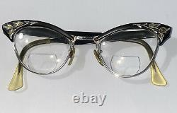 VINTAGE 50-60's Cat Eye Glasses Gold Plated American Optical Etched Engraved