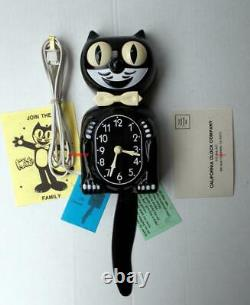 VINTAGE 80s ELECTRIC-BLACK KIT CAT KLOCK-KAT CLOCK ORIGINAL MOTOR REBUILT-WORKS
