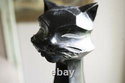 VINTAGE BLACK CAT STATUE UNIVERSAL STATUARY CORP 24 1960 Art Deco Modern