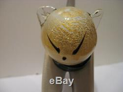 VINTAGE MURANO CAT SCULPTURE ALFREDO BARBINI MINT Black & White WithGold Fleck