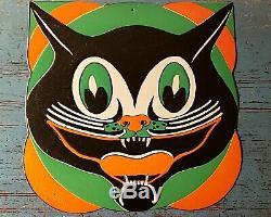 VINT. HALLOWEEN BEISTLE 30's DIECUT LARGE' ART DECO' BLACK CAT FACE, DEAD MINT