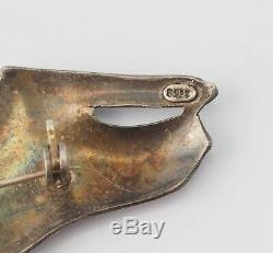 VTG Art Deco sterling silver black enamel panther cat earrings & pin brooch set