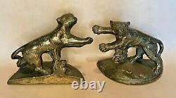 Very Rare Antique Hubley Charging Tigers, Big Cats, Felines Bookends
