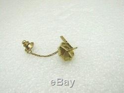 Vintage 14kt Gold Cat's Eye Tie Tack, Bar Chain, 2.19 Gr. Art Deco