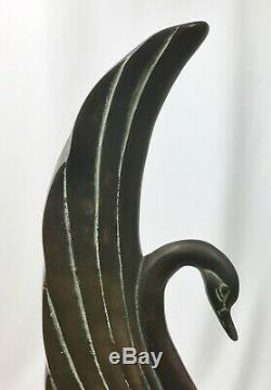 Vintage (1930s) Brass Art Deco Swan withBeautiful Aged Patina Black Base 16 Tall