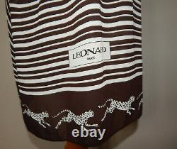 Vintage 70s Leonard Paris cheetah leopard cat novelty print scarf dress