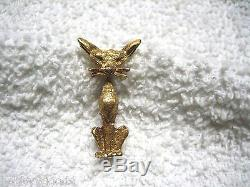 Vintage 750 / 18k Yellow Gold Italy Art Deco Sitting Kitty Cat Brooch Pin