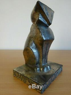 Vintage Antique Cat Statue Art Deco Cubist Hubley Shape Made In Japan