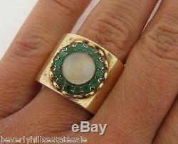 Vintage Art Deco 14k Yellow Gold Cat's Eye Chrysoberyl Emerald Flower Shape Ring