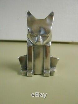 Vintage Art Deco Aluminum Cat Sculpture Signed Chris Petersen 1976