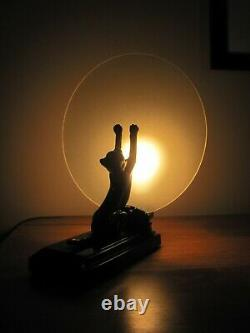 Vintage Art Deco Black Cat At The Moon Frosted Glass 11 Tall Electric Lamp