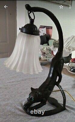 Vintage Art Deco Black Cat With Green Eyes Lamp