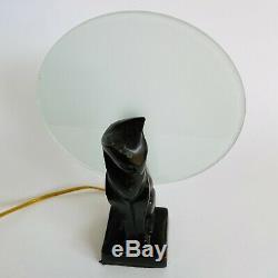 Vintage Art Deco Cast Metal Cat Figure Figural Table Lamp Light Frankart Style