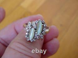 Vintage Art Deco Cat's Eye Chrysoberyl Diamond Ring 18k White Gold