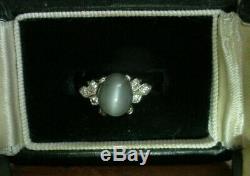 Vintage Art Deco Cats Eye & Diamond Ring in 14k White Gold