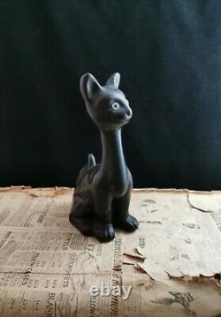 Vintage Art Deco Chalkware Cat, Large Novelty Cat Figure