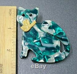 Vintage Art Deco GENUINE Signed LEA STEIN Paris Collectable Brooch Pin Green Cat