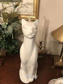 Vintage Art Deco Siamese cat sculpture 16 tall