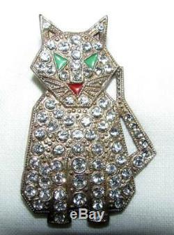 Vintage Art Deco Silver Red Green Enamel Diamond Paste Rhinestone Cat Pin Brooch