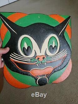 Vintage Beistle Halloween Diecut Art Deco Cat Face Early 1930s Amazing Colors