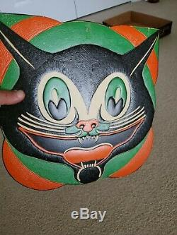 Vintage Beistle Halloween Diecut Art Deco Cat Face Early 1930s Amazing Colors