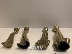 Vintage Brass Set Of 8 Cats Siamese Figurines Tall Neck Art Deco Mid Century