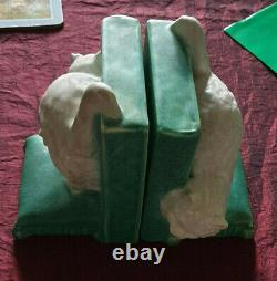 Vintage Bretby Pottery Art Deco Cat bookends. Design 2957. VGC