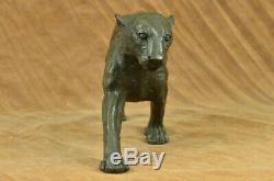 Vintage Bronze Art Deco Cat Sculptures on Plinth after Rembrandt Bugatti Figure
